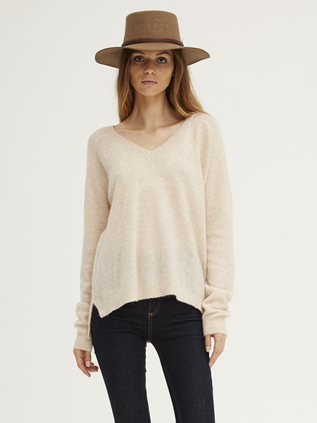 Caresse Raglan V Neck Sweater | Almond