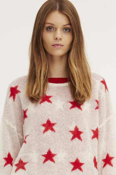 Fluffy Oversized Star Crew | Ivory/Poppy - EXCLUSIVE SAMPLE