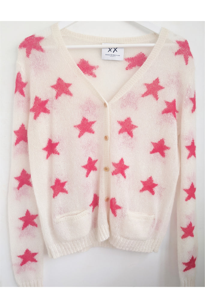 Fluffy Oversized Star Cardigan | Ivory/Poppy - EXCLUSIVE SAMPLE