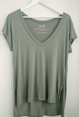 Relaxed Vee T-Shirt - Olive - EXCLUSIVE SAMPLE