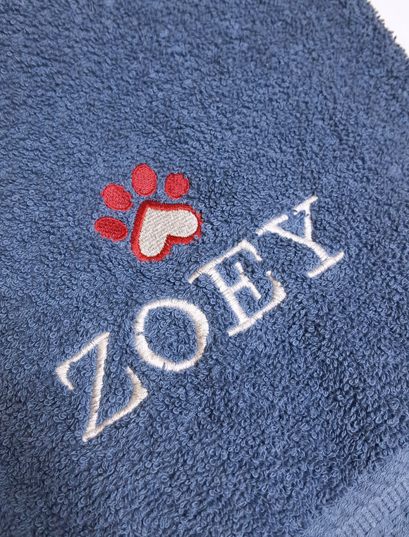 Personalized pet name and heart paw print embroidered bath towel