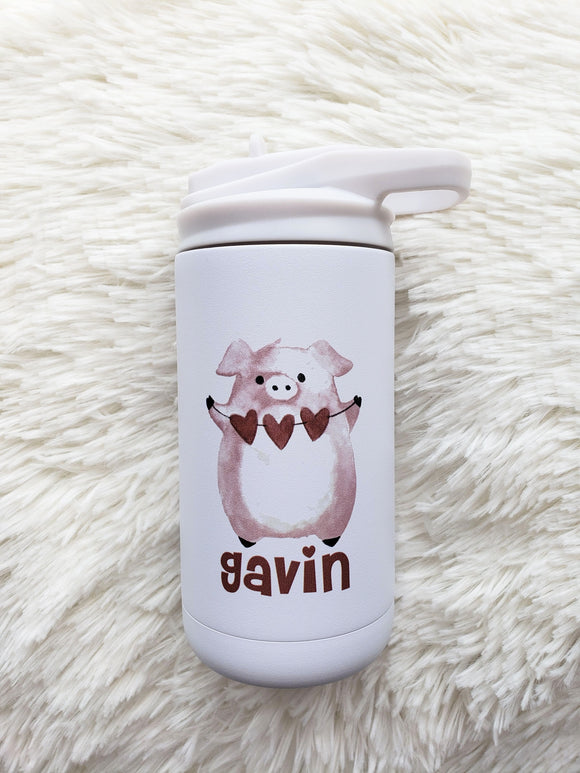 Pig holding banner of hearts 12 oz white flip top tumbler with straw