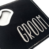 Personalized wedding leather bottle opener 4 x 4 inches