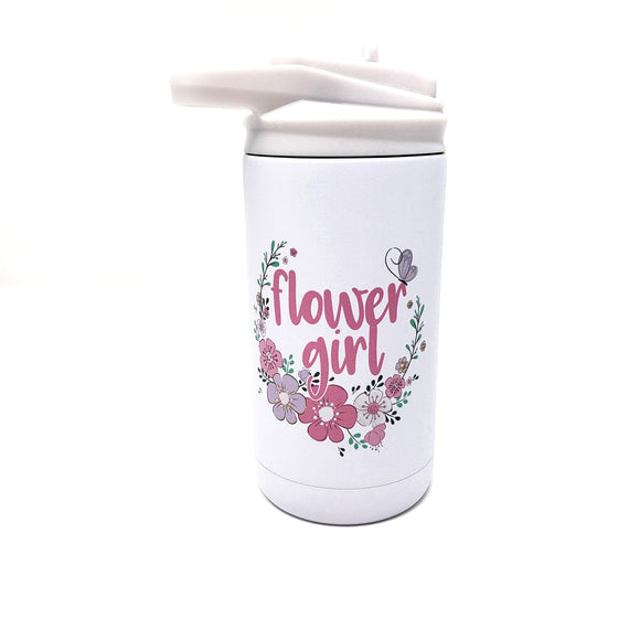 Flower girl 12 oz floral wreath flip top tumbler with straw