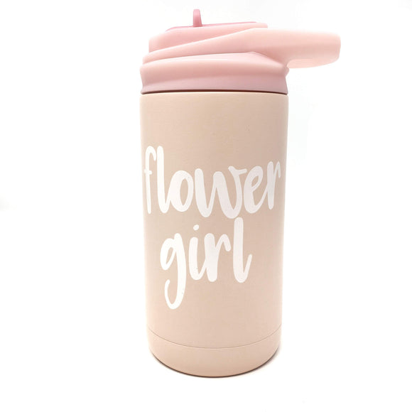 Flower girl 12 oz blush pink flip top tumbler with straw
