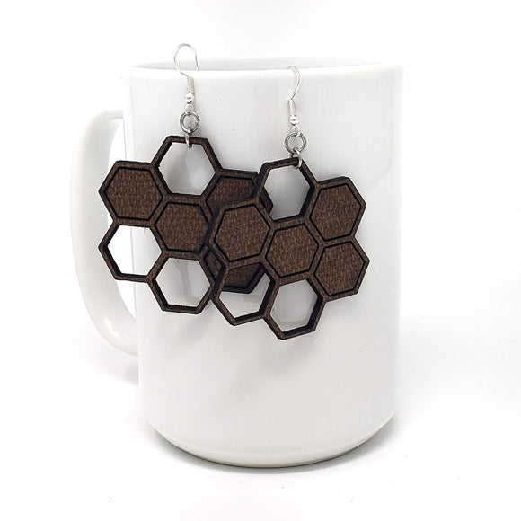 Honeycomb mdf wood earrings