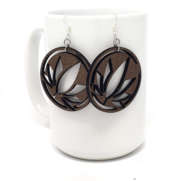 Circle leaf mdf wood earrings