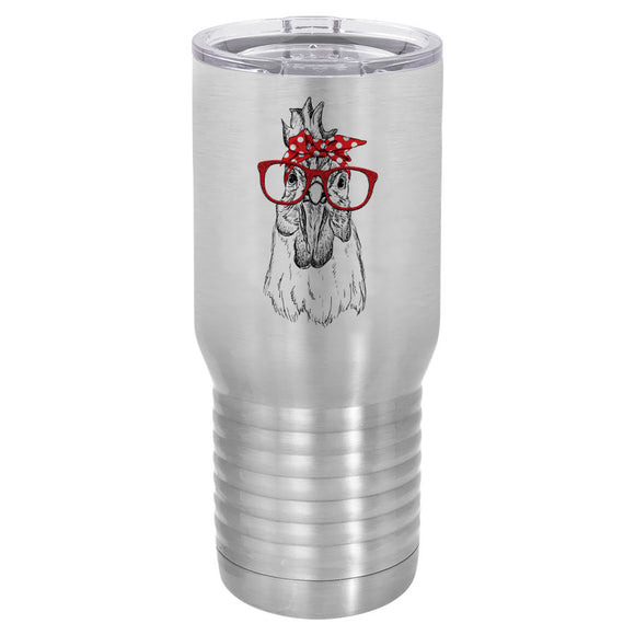 Chicken rooster with red bandana and sunglasses 20 oz tumbler