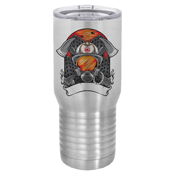 Firefighter mask and helmet 20 oz tumbler