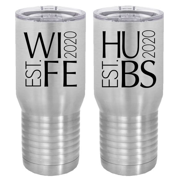 Hubs and Wife est. 2020 20 oz tumbler set of 2