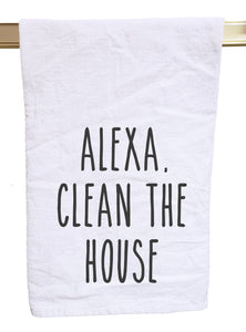 Alexa clean the house flour sack tea towel