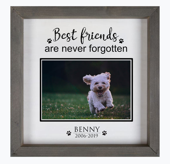 Best friends are never forgotten personalized framed wood sign