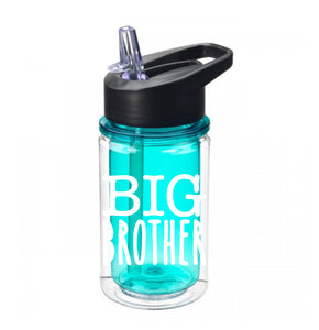 Big brother skinny aqua acrylic water bottle with flip top lid and straw