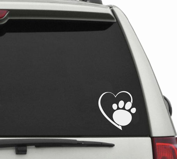 Heart with paw print vinyl decal