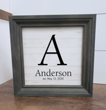 Monogram with last name and established date framed wood sign