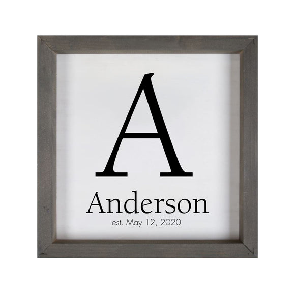 Monogram with last name and established date framed 11 x 11 inch wood sign