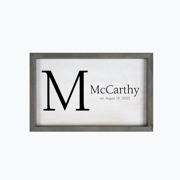 Monogram with last name and established date framed 11.5 x 18 inch wood sign