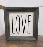 Love framed wood sign