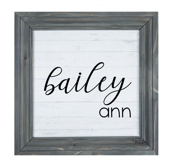 Personalized name framed wood sign