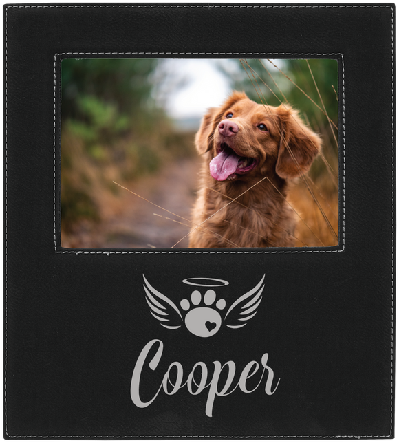 Paw print heart with wings and name 5 x 7 leather picture frame