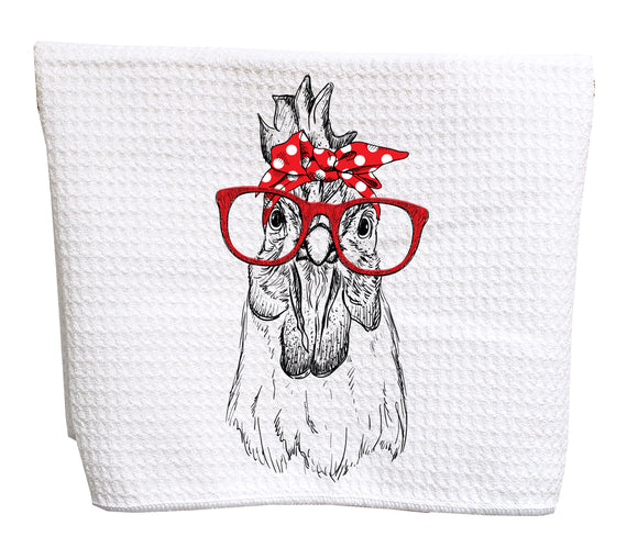 Chicken with red bandana and glasses waffle weave tea towel