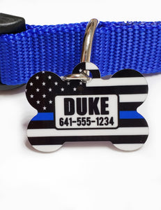 thin blue line bone pet id tag
