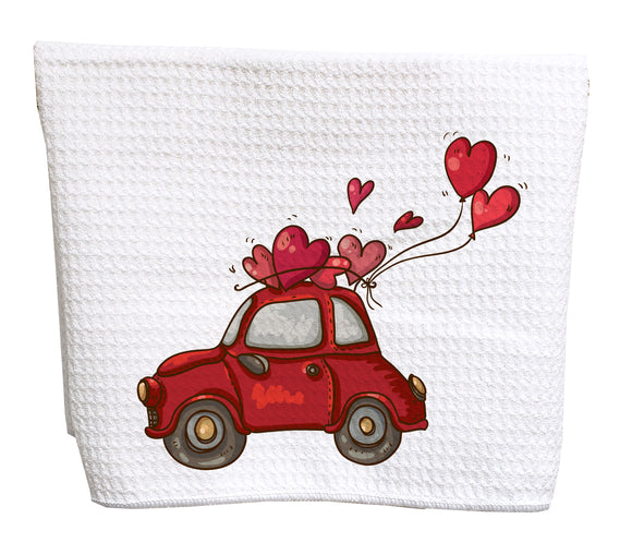 Valentine's day red car and hearts waffle weave tea towel