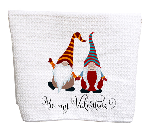 Be my valentine gnomes waffle weave tea towel