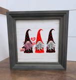 Valentine gnomes framed wood sign