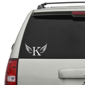 Initial with wings vinyl decal