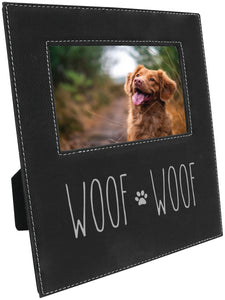 Woof woof paw print 5 x 7 leather picture frame