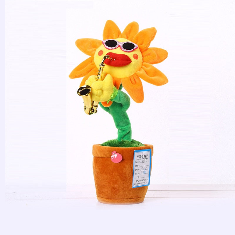 HowPlay Electric Toys Singing and Dancing Flowers Sunflowers Playing Saxophone Funny gifts Plush music kids Toys for children