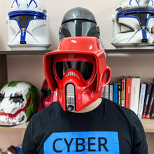 Load image into Gallery viewer, Star Wars Red Biker Scout Trooper Helmet - Cyber Craft