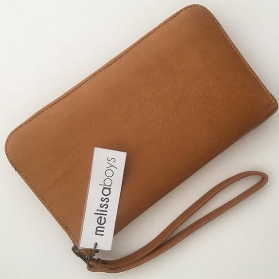 Melissa Boys Leather Zip Around Clutch - Tan