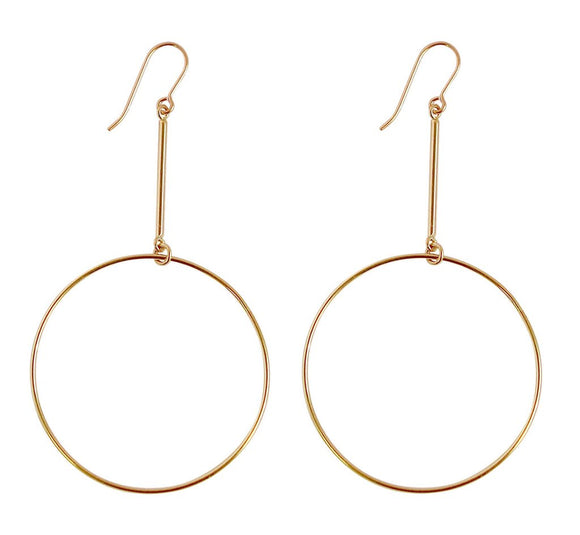 MISUZI Large Ring on Bar Earrings