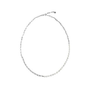 MISUZI Pia Pearl and Chain Necklace