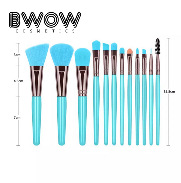12 Piece Makeup Brush Set Fluorescent Colours Vegan