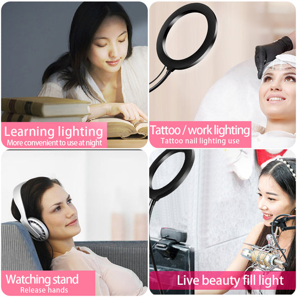 8inch LED Ring Light kit for Makeup Tutorial YouTube Video Live Stream For iPad Microphone Phone Holder Selfie Beauty Ring Light