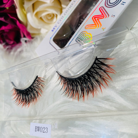 MY COLOURED VEGAN LASHES RED BWOW023 - BWOW Cosmetics