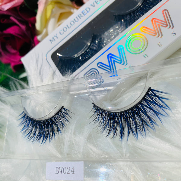 MY COLOURED VEGAN LASHES BLUE BWOW024 - BWOW Cosmetics