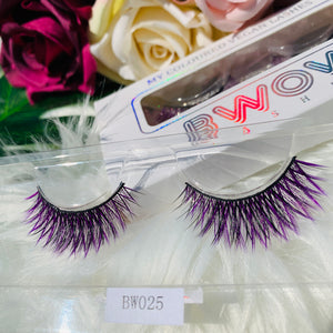 MY COLOURED VEGAN LASHES IN PURPLE BWOW025 - BWOW Cosmetics