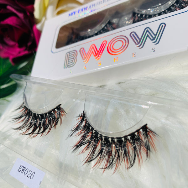 MY COLOURED VEGAN LASHES RED/BLACK BWOW026 - BWOW Cosmetics