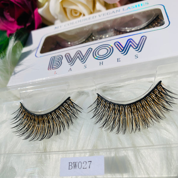 MY COLOURED VEGAN LASHES GOLD/BLACK BWOW027 - BWOW Cosmetics