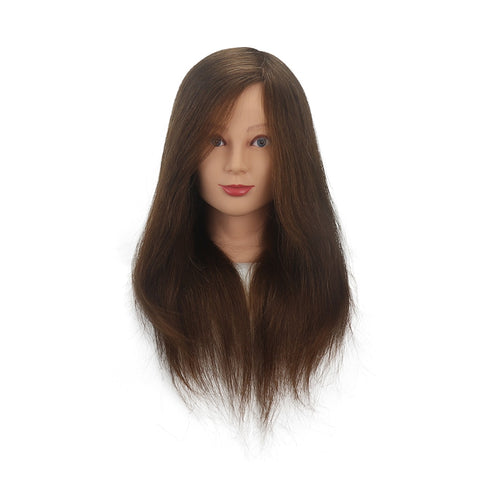 "16""/ 18"" 100% Human Hair in Black and Brown Hairdressing Training Head Long Hair"