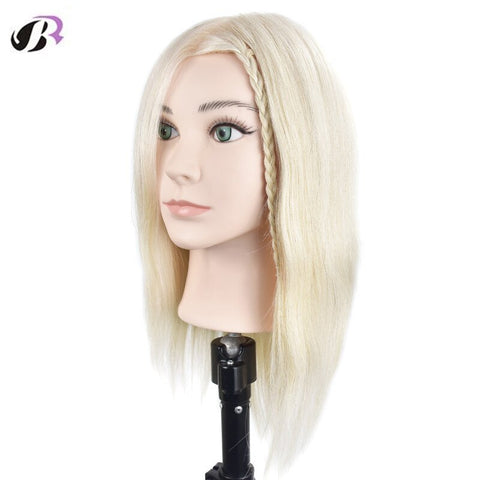 "18"" Blonde 100% Thick Human Hair Practice Training Head with Clamp Holder"