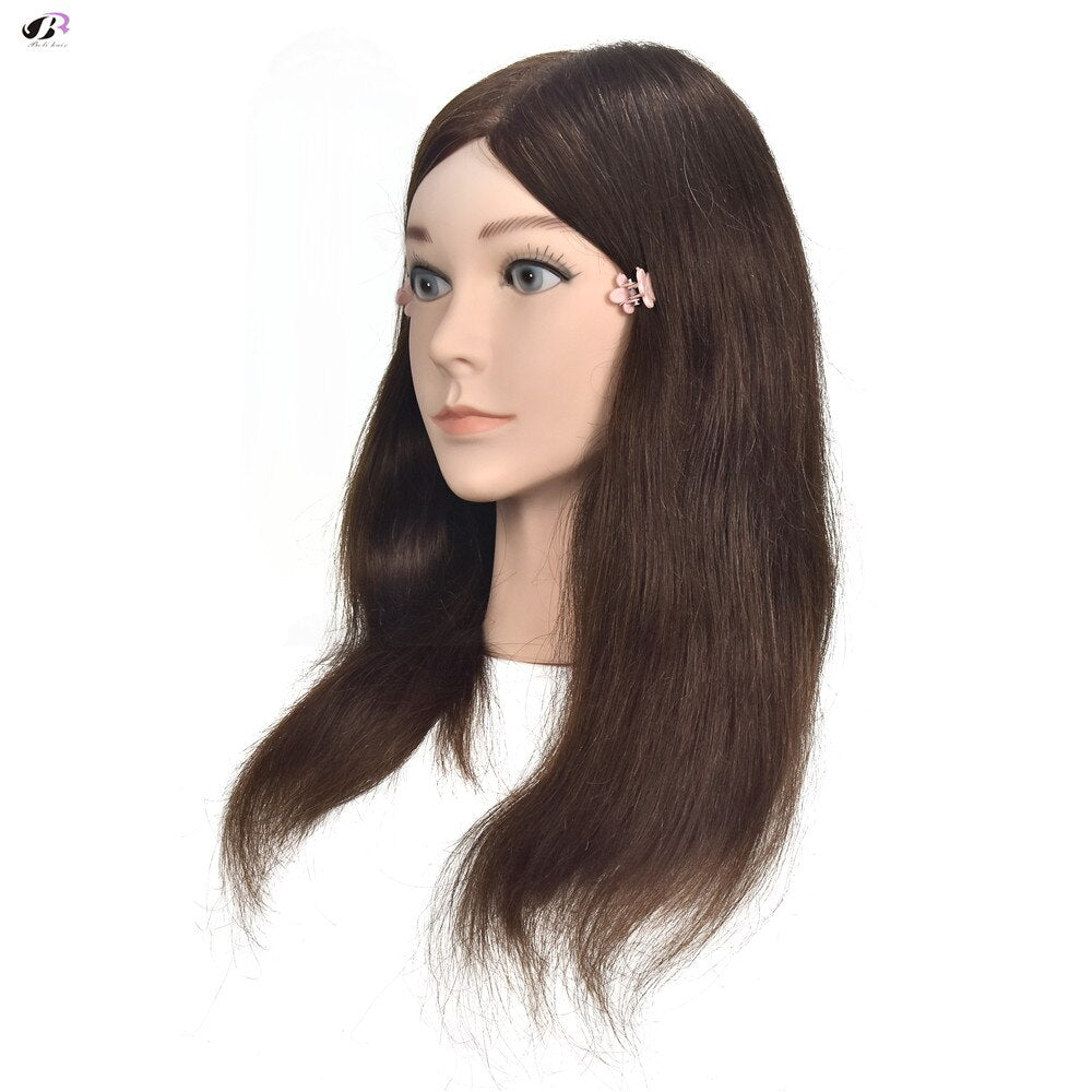 "16"" Brown 100% Human Hair Mannequin Professional Hairdressing Training Head"