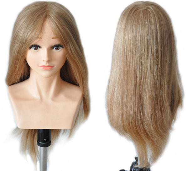 100% Human Hair Professional Training Head Mannequin Head 22""