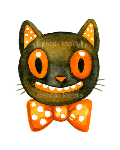".New 8"" x 10"" Signed Print: BOW TIE CAT"