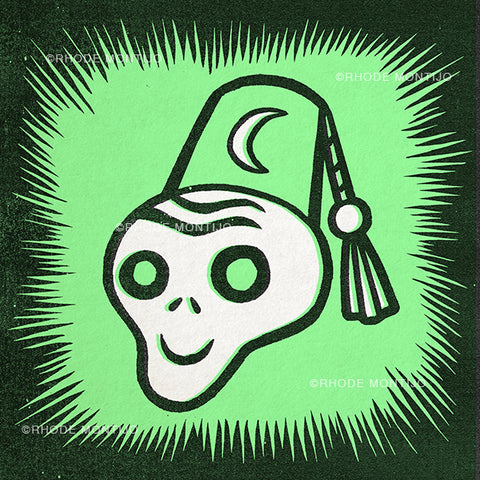 "8"" x 8"" green signed print: FEZ GHOUL"