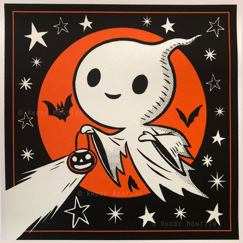 ".New! 6"" x 6"" Signed Glow-In-The-Dark Print: GHOST IN THE STARS"